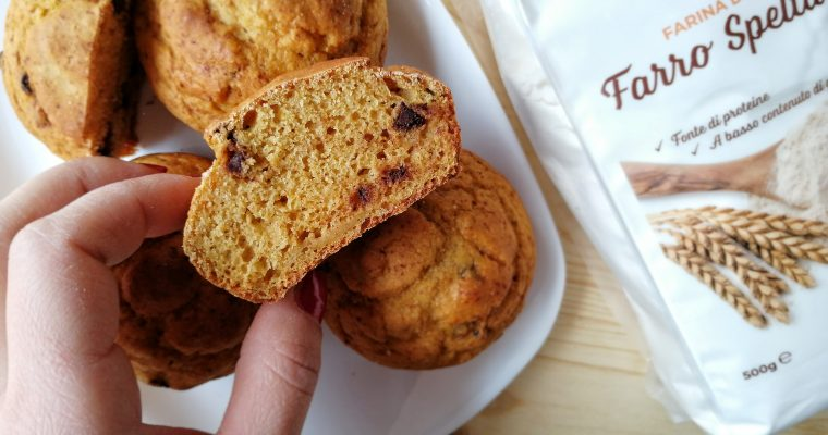 Muffin dolci al farro zucca e gocce di fondente